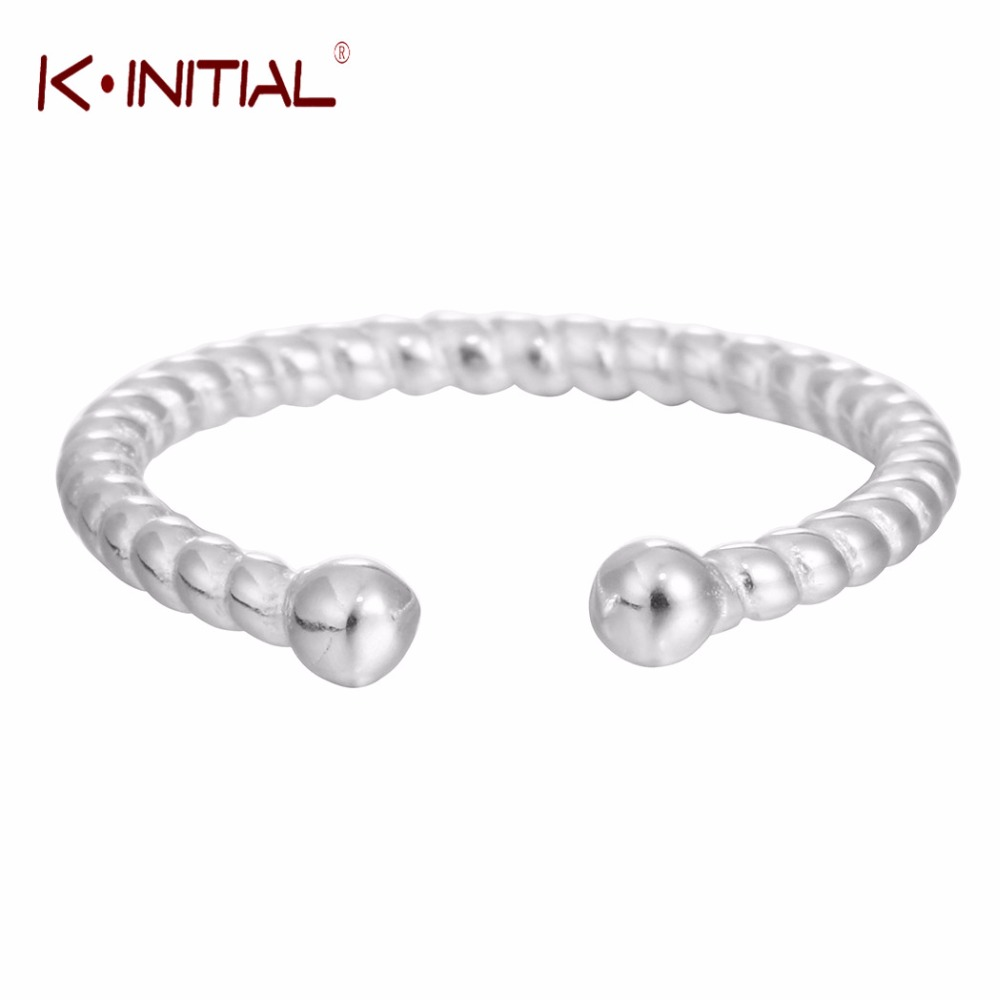 Kinitial 925 Silver Wave Ring Twist Ring for women Resizable Finger Small Double Ball Rings Teen Lady Jewelry Wholesale