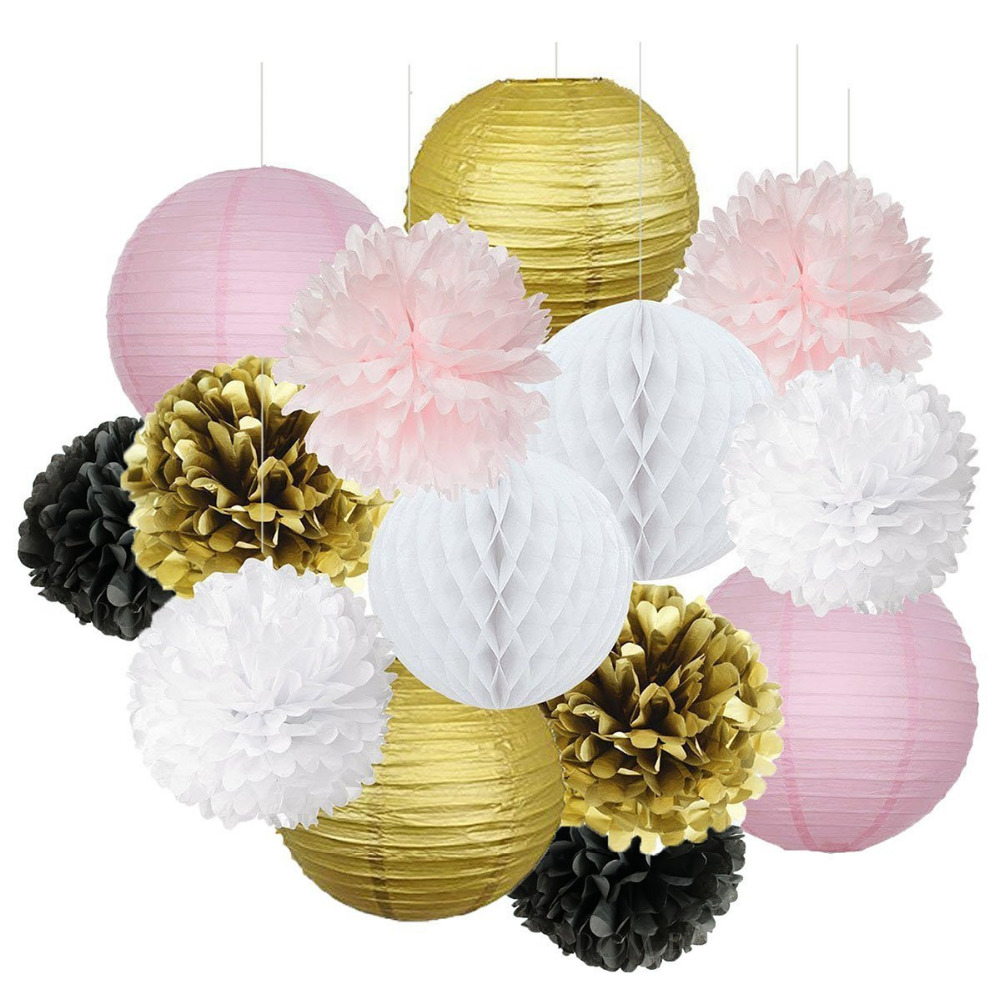 12pcs Gold Pink White Black Tissue Paper Pom Poms Paper