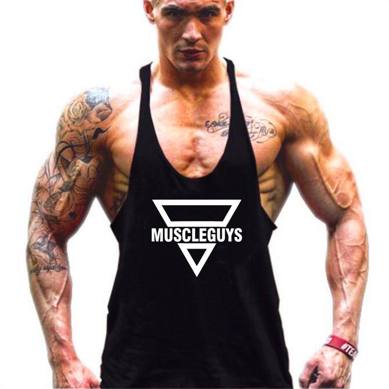 Muscleguys Brand Clothing Fitness Tank Top Men Bodybuilding Stringer Sportwear Shirt Muscle Vests Cotton Singlets Y Back Tops