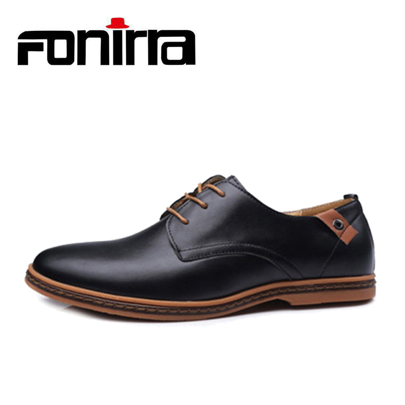 FONIRRA Men Casual Shoes 2017 PU Leather Lace-up Plus Size 38-48 Flat With Shoes Pointed Toe Oxfords Business Shoes 208 new brand designer formal men dress shoes lace up business party oxfords shoes for men pointed toe brogues men s flats plus size