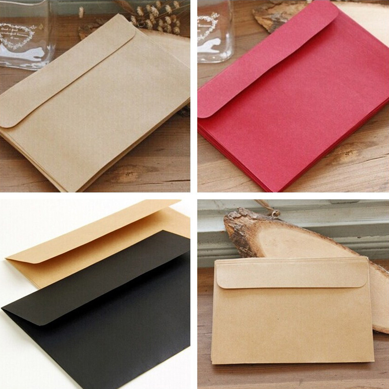 10pcs Red Kraft Black Envelope Blank Stationery Multifunction Gift Card Invitation Envelope For Office School Stationery 16x11cm