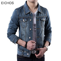 EICHOS Denim Jacket Men 2017New Arrival 100 Cotton Men S Jeans Slim Retro Mens Single Breasted