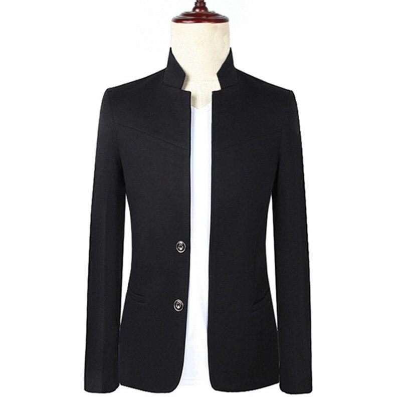 2018 Весна и осень новые модные Для мужчин вскользь Стенд воротник костюм пальто/Для мужчин с двойной пряжкой Бизнес пиджаки куртка