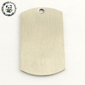 Image 2 - 201 colgante rectangular de acero inoxidable etiqueta para sellar en blanco, Color acero inoxidable, 43x24x1mm, agujero: 3mm