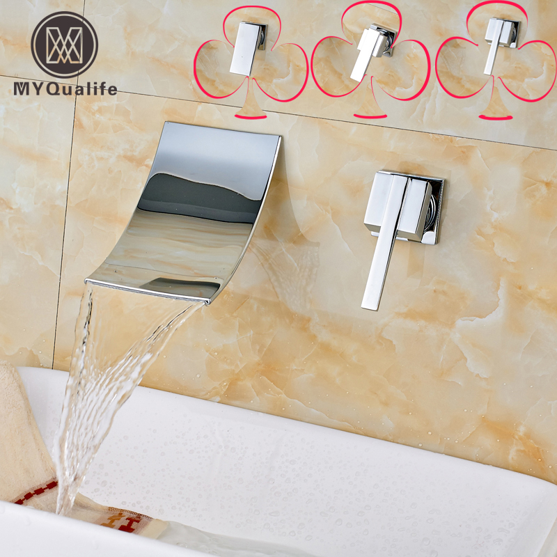 Bright Chrome Single Lever Bathroom Waterfall Basin Sink Faucet Wall Mounted Dual Hole Brass Hot and Cold Taps deck mounted brass basin vessel sink faucet single lever hot and cold bathroom mixers one hole