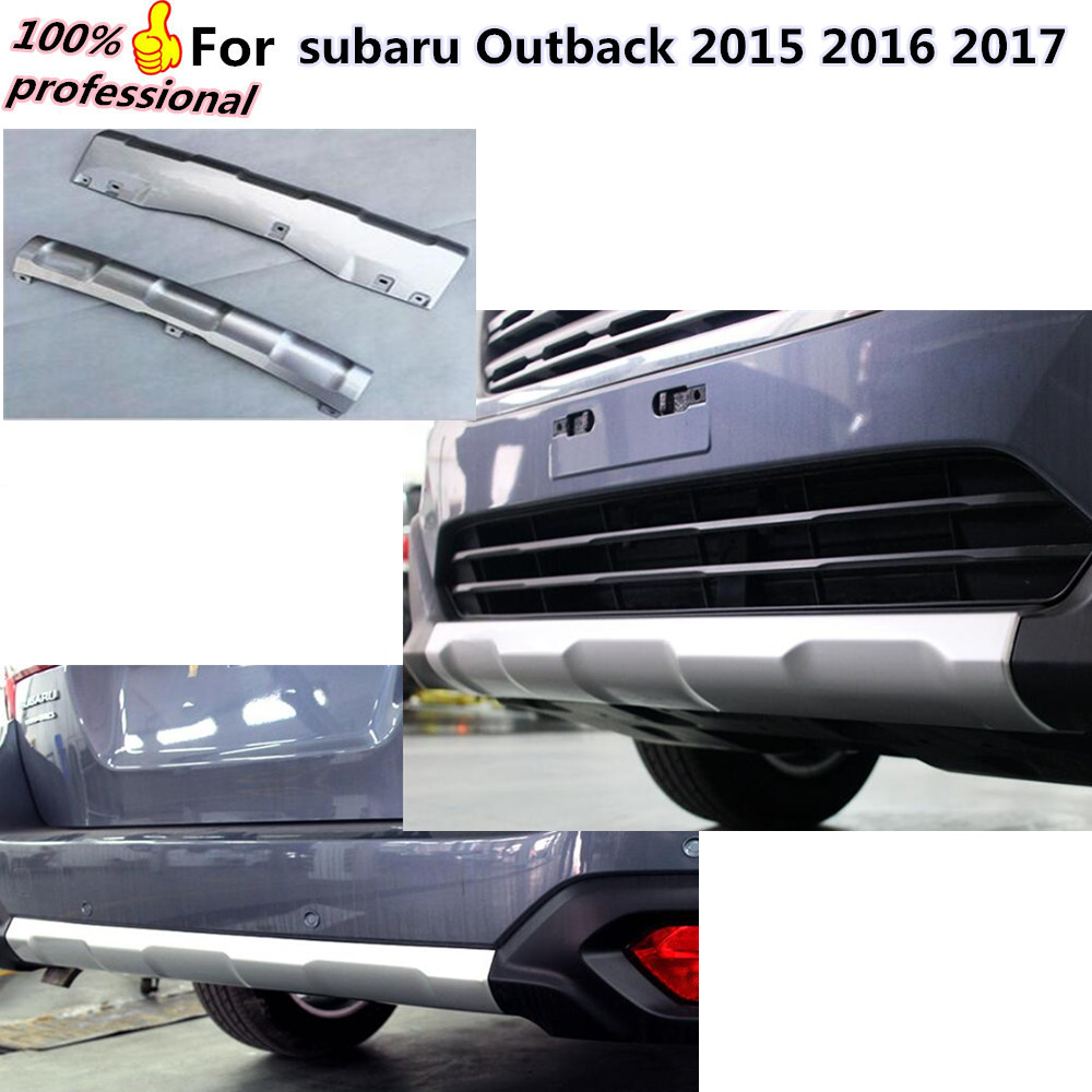цена на High quality styling cover ABS Silver Protection Front&Rear Bumper Protector Skid Guard 2pcs for subaru Outback 2015 2016 2017