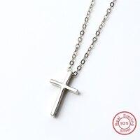925 Sterling Silver Cristianesimo Croce Per Le Donne Preghiera Brillante CZ Pendenti Della Collana 45 cm Catena DA711