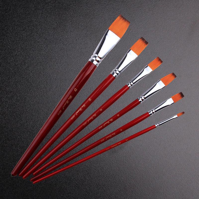 6pcs/set Artist Painting Brushes Pens Painter Students Acrylic Nylon Paint Brushes