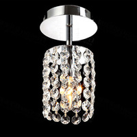 Modern Led Teardrop Crystal Chandelier For Bedroom Corridor Hallway Wall Ceiling Lamp Chrome Base Surface Mounted