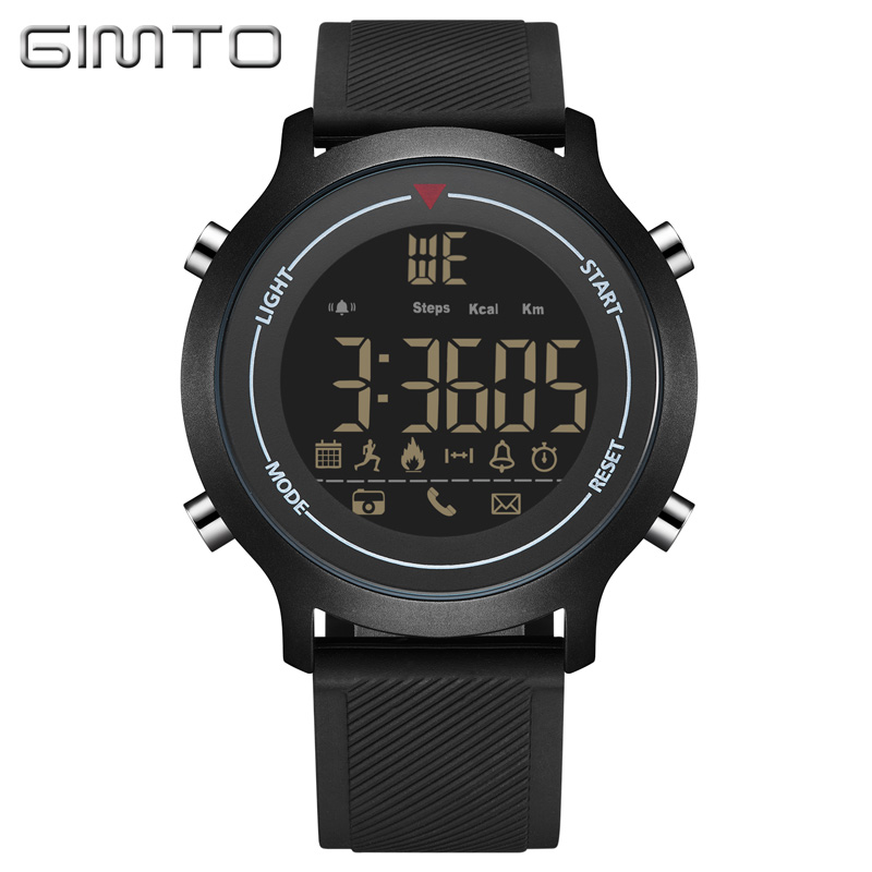GIMTO Sport Digital Watch Men Waterproof Silicone Smart LED Men Watch Bluetooth Shock Electronic Men Wrist Watches Reloj Hombre red led watch men silicone wrist watch