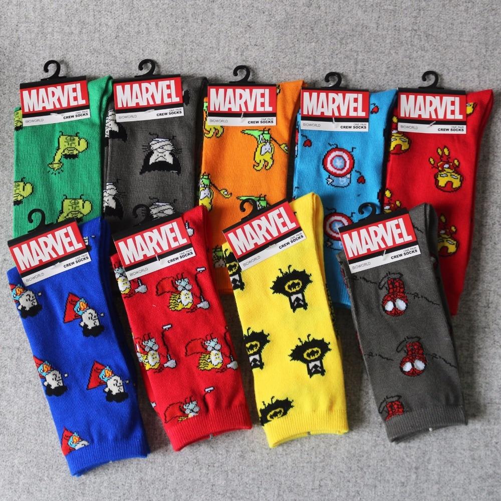For Marvel Comics Avenger Captain America Cartoon Socks Batman Superman Iron Man Hulk Socks Men Future Cotton Men Funny Sock