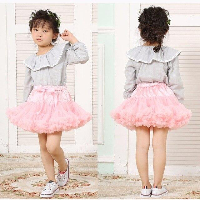 6a9e463f062c7b € 8.25 22% de réduction|Puseky filles moelleux 1 10 ans jupe en mousseline  de soie couleurs solides tutu jupes fille danse jupe noël Tulle jupon ...