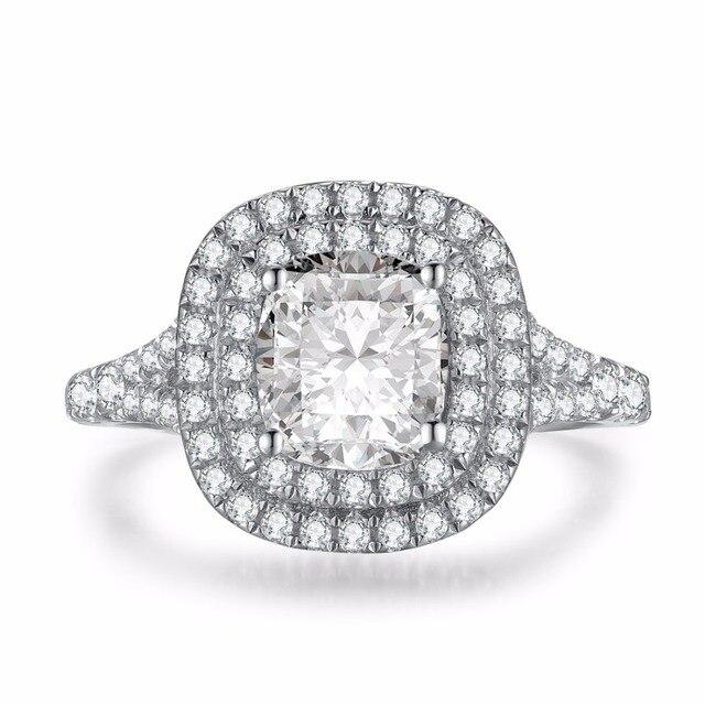 2CT индивидуальные ювелирного бренда кольцо 925 SONA Подушки имитировать кольцо с бриллиантом Обручение Для женщин стерлингового серебра 18 К белый позолоченные