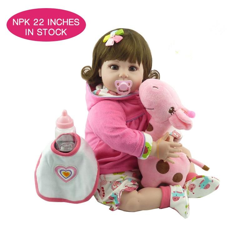 NPKDOLL 55 cm boneca newborn lifelike baby reborn menina realistic reborn silicone dolls for girls boneca baby reborn toys цена