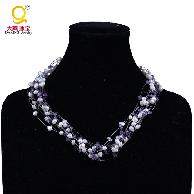 New One Direction Girl Bijoux Pearl Statement Necklace Irregular Natural Stone Amethyst Necklace