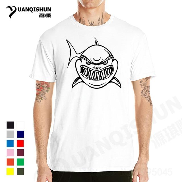 1a0d63536 YUANQISHUN Summer Simple Shark Printed Cartoon Brutal Shark T Shirt Brand  Clothing Men Women O Neck Casual Short Sleeve XS-3XL