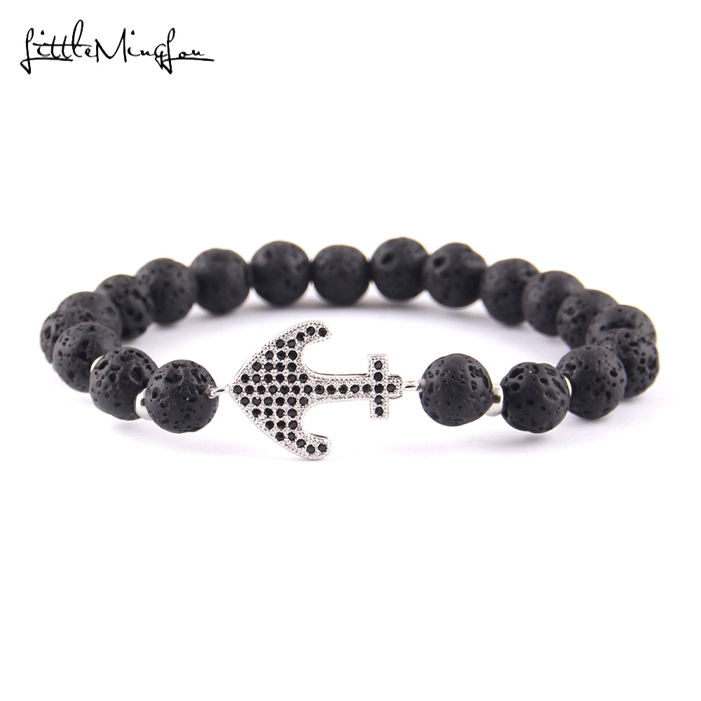 WML Luxury pave black CZ Navy Anchor Charm men Bracelet 8mm lava stone bead Bracelets Bangles for men Jewelry in Charm Bracelets from Jewelry Accessories
