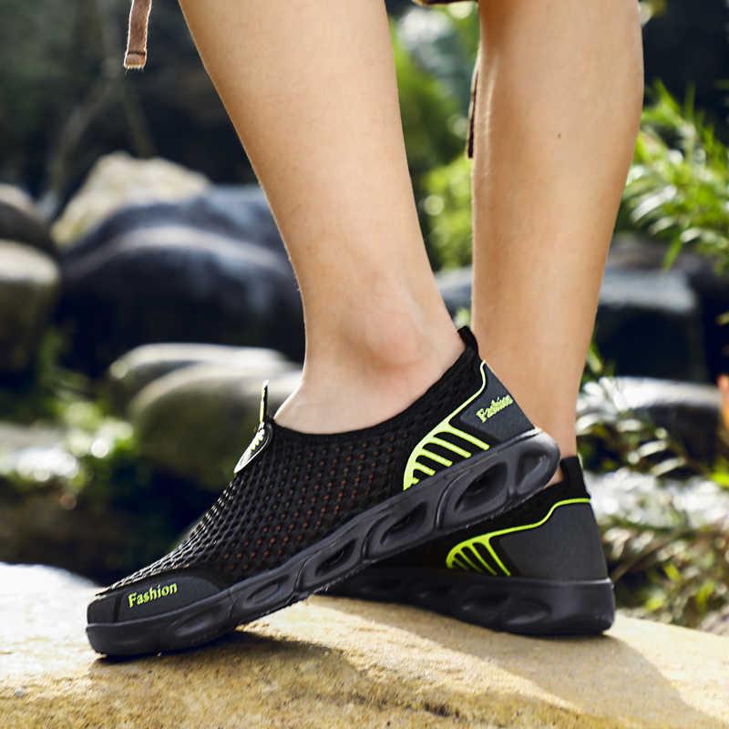 2019 sommer Heißer Verkauf Männer Casual Schuhe Atmungsaktiv Wasser Schuhe Slip Auf Weichen Boden Männer Turnschuhe Air Mesh Upstream Creek aqua Schuhe