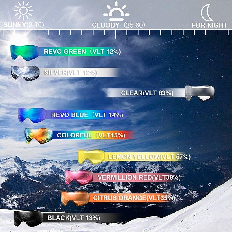 Lunettes de Ski, Sports de neige Snowboard sur lunettes lunettes avec Protection Anti-buée UV Double lentille pour hommes femmes et jeunes motoneige - 6