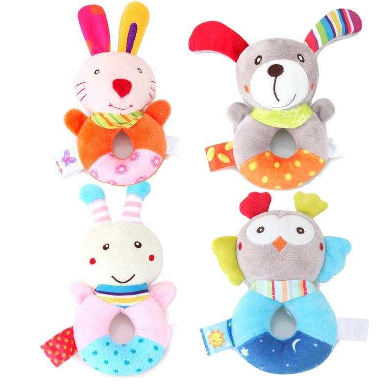 Boys Girls Newborn Baby Rattle Toys Animal Cartoon Hand Bell Safe For Baby 6A