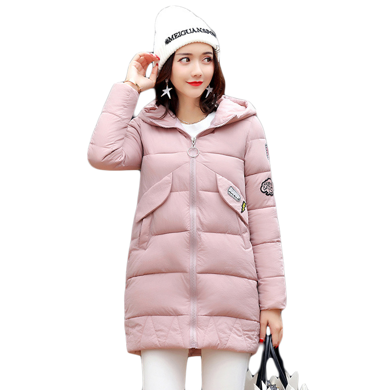 Winter Jacket Women 2017 Girls Fashion Medium-long Loose Cotton-padded Hooded Jacket Parka Female Wadded Jacket Outwear CM1397 2015 new mori girl wave raglan hooded loose sleeve medium long wadded jacket female