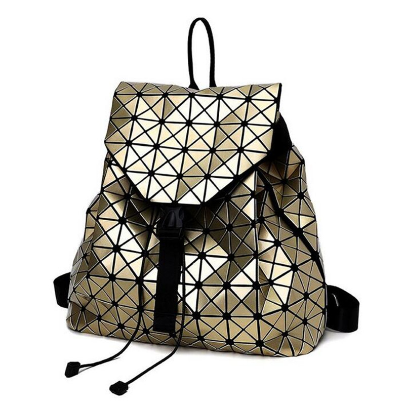 With logo BaoBao backpack female Fashion Girl Daily backpack BaoBao Geometry Package Sequins Folding Bags School
