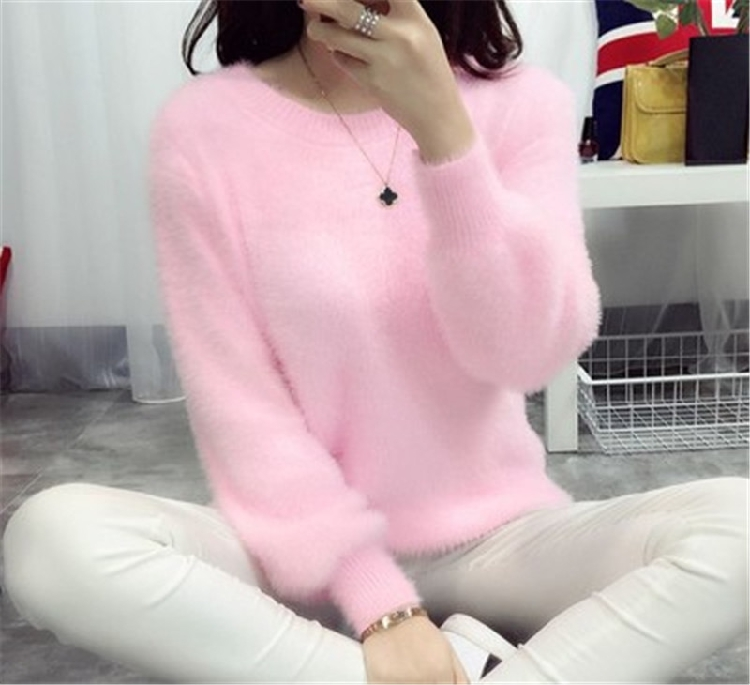 19 Sweater Women Fashion Casual Simple Lantern Sleeve Solid Color Loose Comfort Cashmere Knitting Mohair Fur Pullover USWMIE 6