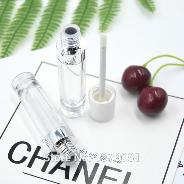 30/500/1000pcs 5ml Empty Lip Gloss Tube Silver Neck,ABS Clear Lipstick Refillable Bottle with White Cap,Graceful Lip Balm tube