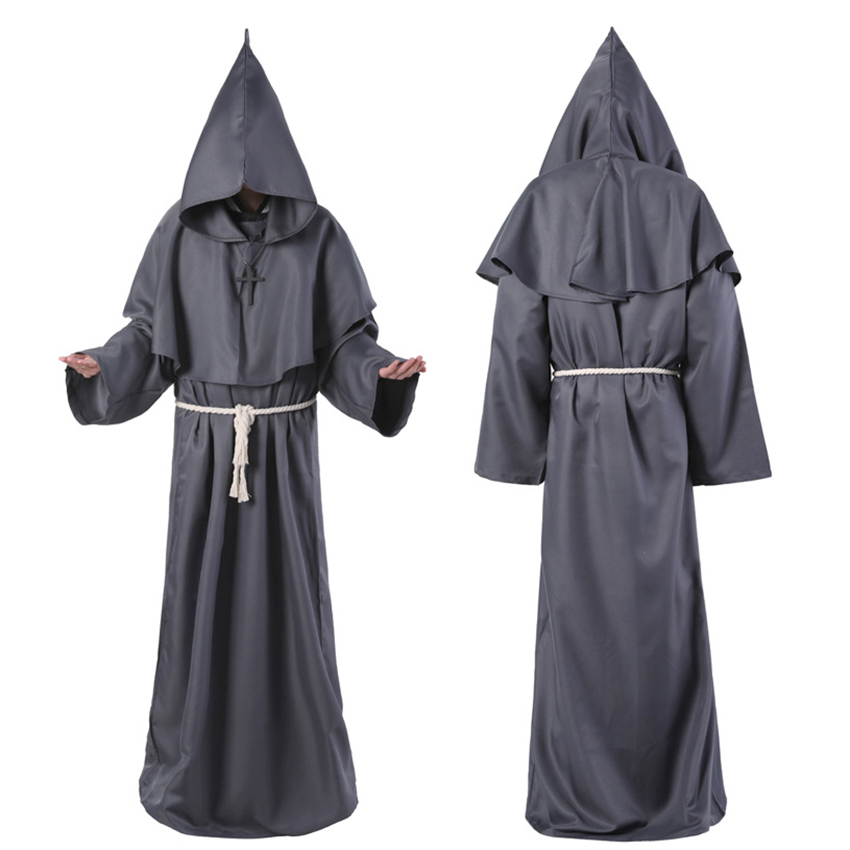 Horror Grim Reaper Costume Men Vintage Monk Cosplay Cloak Robe Scary Wizard Costume Halloween Costumes for women Dress 3