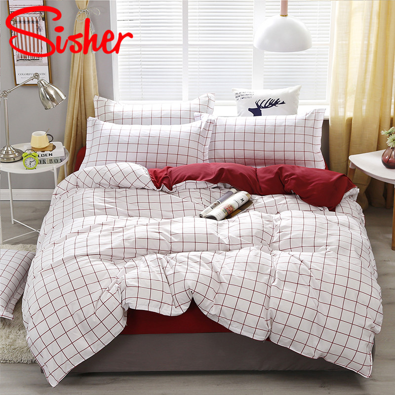 Sisher Modern Duvet Cover Adults Plaid Bedding Sets Polyester Cotton Bedclothes With Pillowcase Covers Single Double Queen King