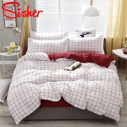 Sisher moderno conjunto de capa edredão adultos xadrez conjuntos cama colcha poliéster cobre única dupla rainha rei roupas não folha