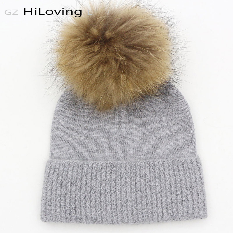 GZHilovingL Winter Knitted Beanies Hat With Fur Pom Pom Hats 5-15Years Child Kids Boys Girls Autumn Winter Warm Wool Gorros Caps gzhilovingl 6 month 2 years new fashion baby kids beanie for boys girls cotton skullies beanies hat with real big fur pom pom
