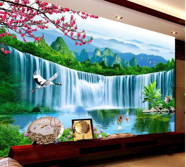 3d wallpaper custom mural non-woven Large plum blossom fallss