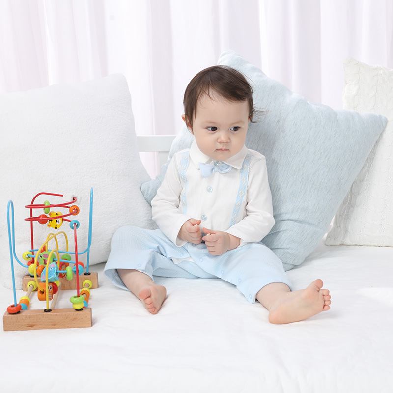 Tender Babies Baby Boy Clothing Little gentlemen all in one collar with mock braces and bow tie detail in Rompers from Mother Kids