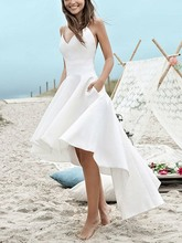 New Spaghetti Straps High Low Beach Wedding Dress 2020 Summer Boho Wedding Dresses Bridal Dress Plus Size robe de mariage spaghetti strap striped high low dress