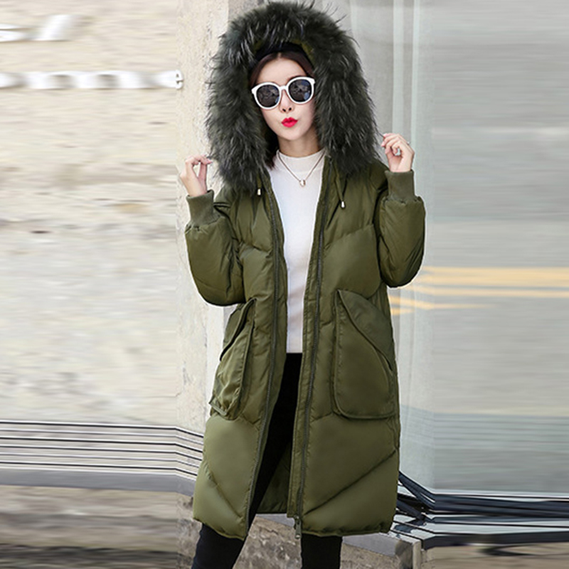 whiter women white duck   down     coat   2017 female long   down   jacket thicker warm hooded big fur collar   down   outerwear oversizedQH1000