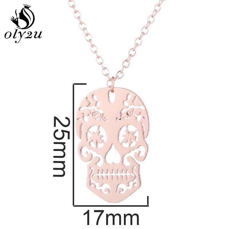 Oly2u الجمجمة المعلقات القلائد سلسلة طويلة قلادة ل قلادة ضيقة حريمي الشرير نمط الهيكل العظمي الفولاذ المقاوم للصدأ كولير فام