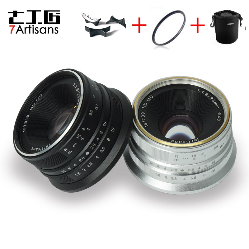7artisans 25mm f1.8 Prime Lens to All Single Series for E Mount Canon EOS-M Mout/ for Micro 4/3 Cameras A7 A7II A7R A7RII X-A1 7artisans 25mm f1 8 prime lens to all single series for e mount canon eos m mout micro 4 3 cameras a7 a7ii a7r free shipping