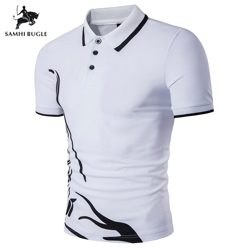 2018 New European style Hem Printed   Polo   Shirt Men Lapel Short-sleeved Large size   Polo   Ralphmen Pol Shirt   Polo