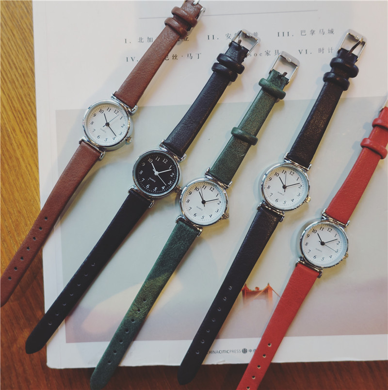 Retro Small Quartz Watch Women With Vintage Leather Strap Fashion Casual Ladies Dress Wristwatches Simple Drop Shipping Clock