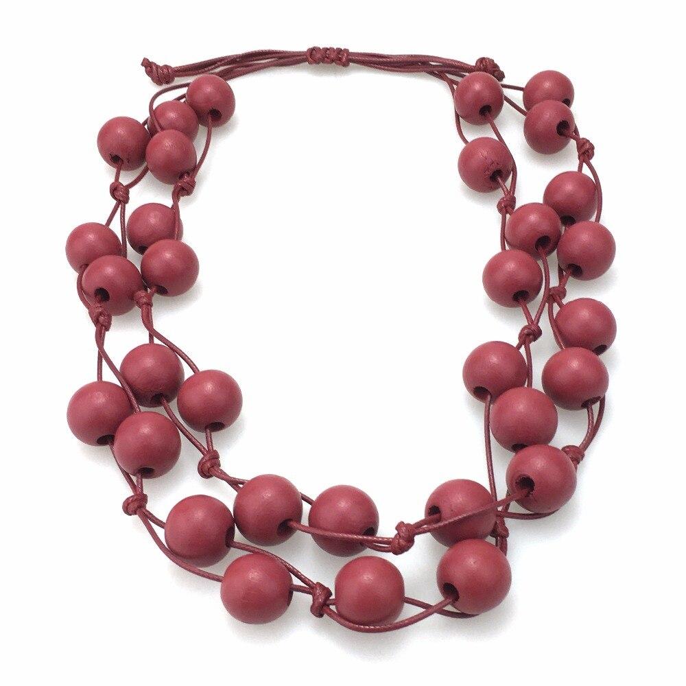 MANILAI 2018 Fashion Bohemia Multilayer Statement Necklace Women Handmade Wood Beads Choke
