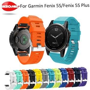 Image 1 - 20 мм ремешок для наручных часов для Garmin Fenix 5S, быстросъемный силиконовый ремешок для Garmin Fenix 5S/5S Plus