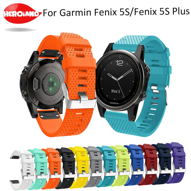 Correa de reloj de 20mm para Garmin Fenix 5S, correa de silicona de liberación rápida, ajuste fácil, correa de muñeca para Garmin Fenix 5S/5S Plus