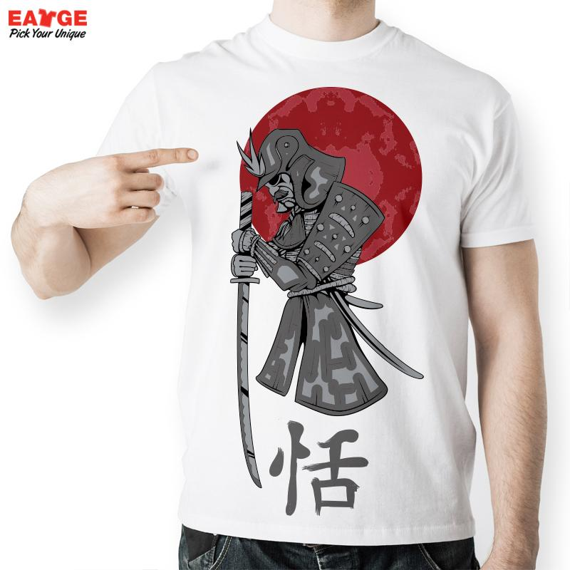 Exclusive Creative Cool Japanese Samurai Letter Warrior T Shirt Men Summer Cartoon Designed Print T-Shirt Fasion Comfortable Top