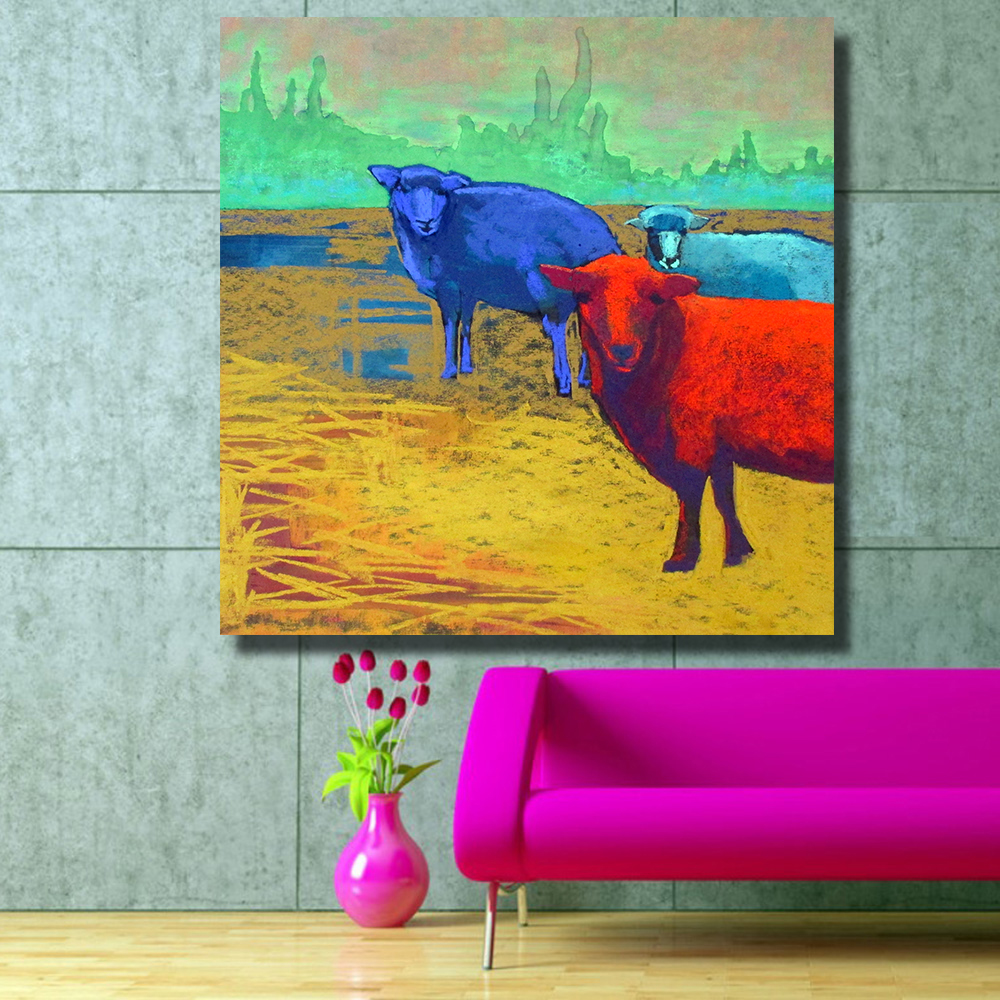 HDARTISAN Wall Printed Three Sheep on the Farm Landscape Oil ...
