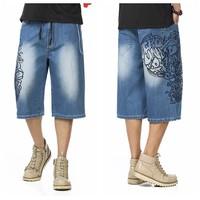 46 Mens Calf Length Pants Casual shorts Calf Length Pants Blue Plus size Denim Men Jeans Jean hip hop Mens Shorts men short