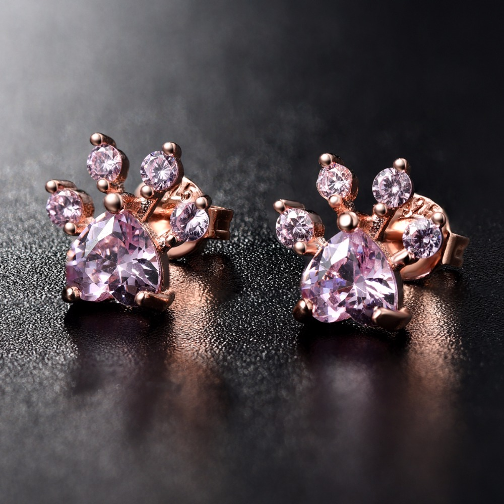 clear cz sparkling pink stud pandora rose love earrings womens studs stores