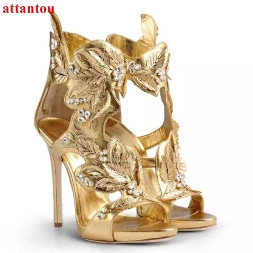 Здесь продается  New Design Summer Crystal Gold Leaf Sandal Heels Lady Luxury Dress Sandal High Heel Women Gladiator Cut-out Rhinestone Sandals  Обувь