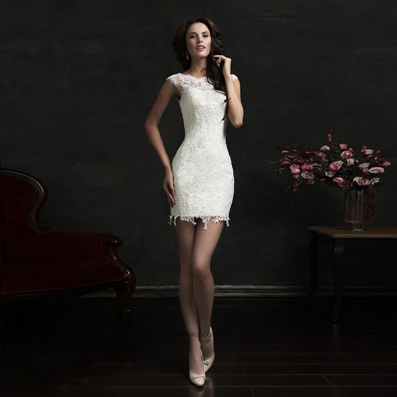 sexy lace appliques slim wedding dresses vintage cap sleeves short bridal dress knee length 2015 vestidos de noiva curto in wedding dresses from weddings