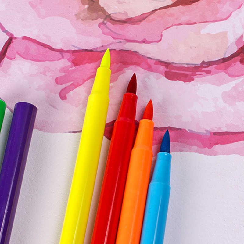 12 24 colores de pintura de arte niños suaves marcadores de acuarela pluma suave pincel Color pluma para libros escolares de colores para niños